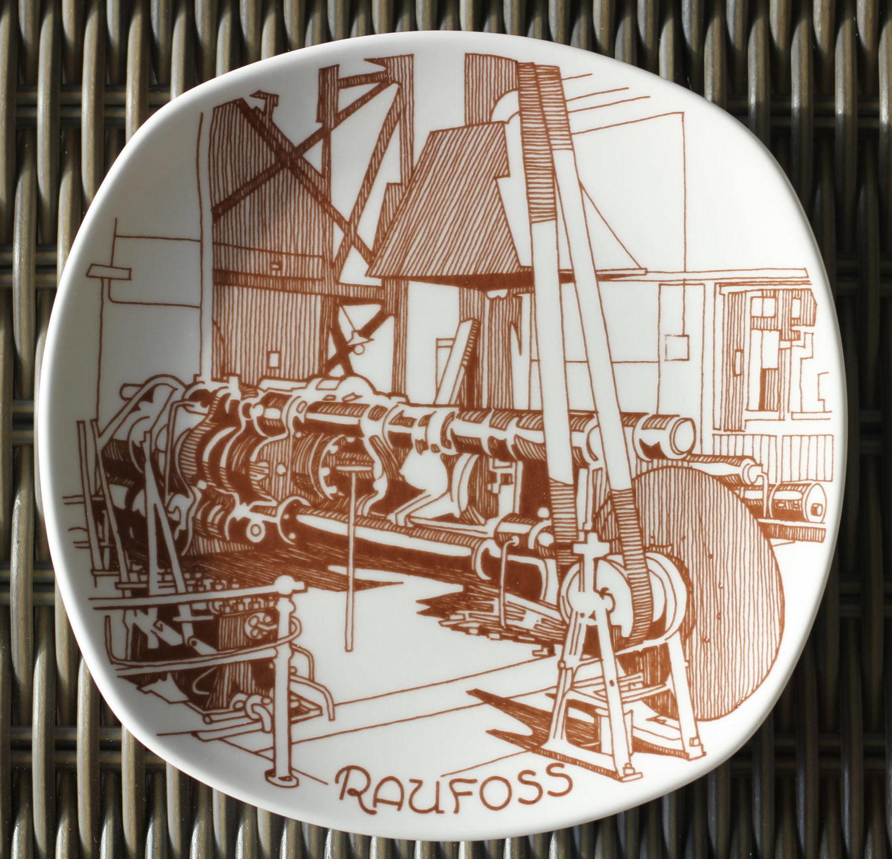 Første stangpresse satt i drift 1917 platte utgitt 1983 – Raufoss historie